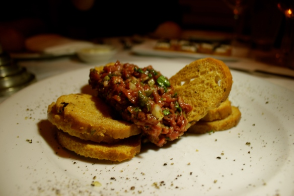 Steak Tartare with Shallots, Capers, Parsley and Mustard, Prepared Tableside, $15