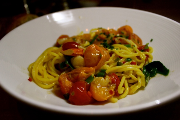 Lobster Spaghetti with Cherry Tomatoes, Jalapeños and Basil, $34
